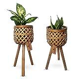 Daytana Bambus Pflanzenständer mit Holz-Beinen im 2er Set   Blumenständer aus...