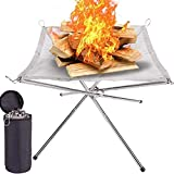 Feuerschalen,Tragbare Feuerschalen, Camping Faltbare Edelstahl Feuerkorb, Rostfreier...