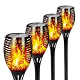 FLOWood Solar Gartenfackel realistischer Flammeneffekt 2 in 1 Solar Hängeleuchte...