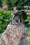 IDYL Rottenecker Bronze-Skulptur Froschkönig Klaus wasserspeiend hockend auf Granit...