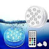 Magicfun Unterwasser Licht, Wasserdichtes LED Licht, mehrfarbige RGB-13-LED-Perlen...