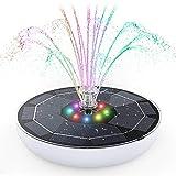 AISITIN Buntes LED Solar Springbrunnen mit 6.5W Solar Panel mit 5000mAh Akku, Solar...