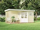 Alpholz 5-Eck Gartenhaus Mosel-28 aus Massiv-Holz | Gerätehaus mit 28 mm Wandstärke...