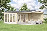 Alpholz Gartenhaus Freiburg mit 2 Falttüren aus Massiv-Holz   Gerätehaus mit 44 mm...
