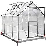 Deuba Aluminium Gewächshaus 4,75m² mit Fundament 250x190cm inkl. 2 Dachfenster...
