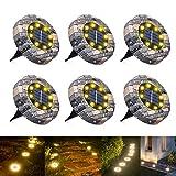 WOWDSGN Solar Bodenleuchten, 8 LEDs Solarleuchten Gartenbeleuchtung, Warmweiß...