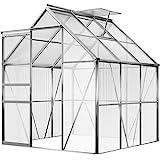 Deuba Aluminium Gewächshaus 4,75m² 250x190cm inkl. 2 Dachfenster Treibhaus Garten...
