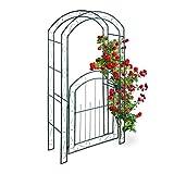 Relaxdays Rosenbogen mit Tür, Garten Rankhilfe Kletterpflanzen, Torbogen Metall,...