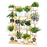 Medla Pflanzenregal Bambus, Blumenregal mit 9 Ablagen mehrstöckig, EXTRA GROß...