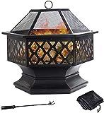 GRANDMA SHARK Sechseckige Feuerstelle aus Stahl, Feuerschale für Garten und...