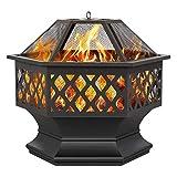 Yaheetech Feuerstelle Seckskant, Feuerschale mit Funkenschutzdeckel, Feuerkorb Garten...