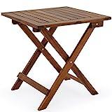Deuba Beistelltisch Klapptisch Akazie Holz 46x46 cm Klappbar Balkontisch Holztisch...