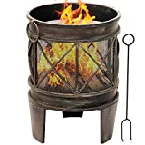 Amagabeli Feuerschale mit Funkenschutz 58 x 42 cm Feuerkorb mit Funkenschutz &...