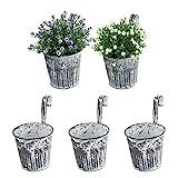 5 STK. Balkon Hängetöpfe für Pflanzen Blumen Hängetopf Kräuter Metall Balkontopf...