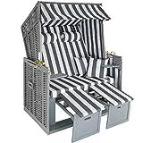 tectake 800805 Strandkorb Ostsee 2-Sitzer, 4-Fach verstellbare Rückenlehne,...
