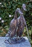 IDYL Rottenecker Bronze-Skulptur Laufenten klein wasserspeiend | 27x15x16 cm |...