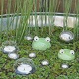 Gartenzaubereien Schwimmfrösche 2er Set mit Teelichtschalen und silbernen...