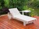 Gartenliege Holz weiß mit Beistelltisch