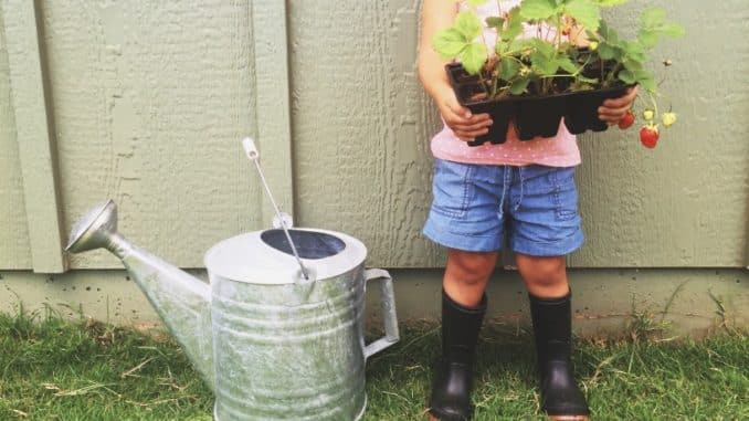 Garten wird von Mutter und Mädchen neu gestaltet