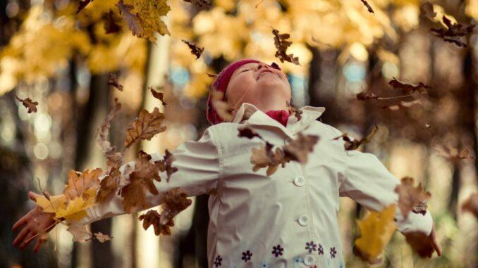 Kind spielt mit buntem Laub
